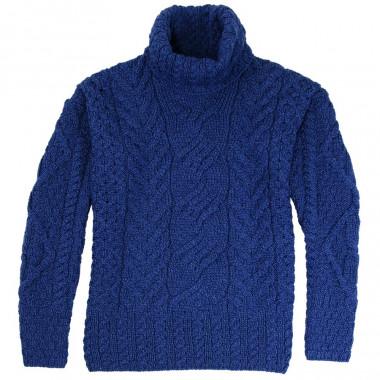 Pull Col Roulé Bleu Aran Woollen Mills