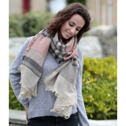 Out Of Ireland Light Brown Striped Scarf