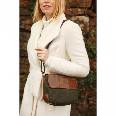 Aran Woollen Mills Shoulder Bag Green Leather and Tweed