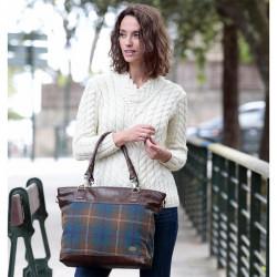 Aran Woollen Mills Leather Blue Tweed Bag